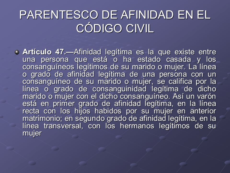 PARENTESCO DE AFINIDAD EN EL CÓDIGO CIVIL