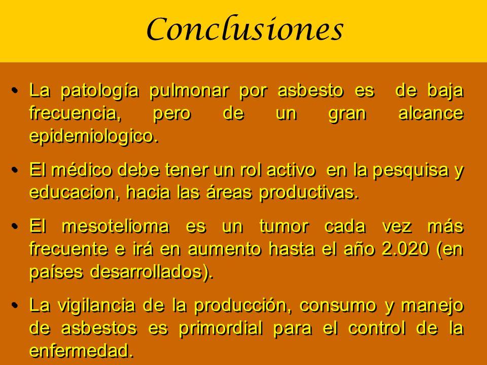 Conclusiones La patología pulmonar por asbesto es de baja frecuencia, pero de un gran alcance epidemiologico.