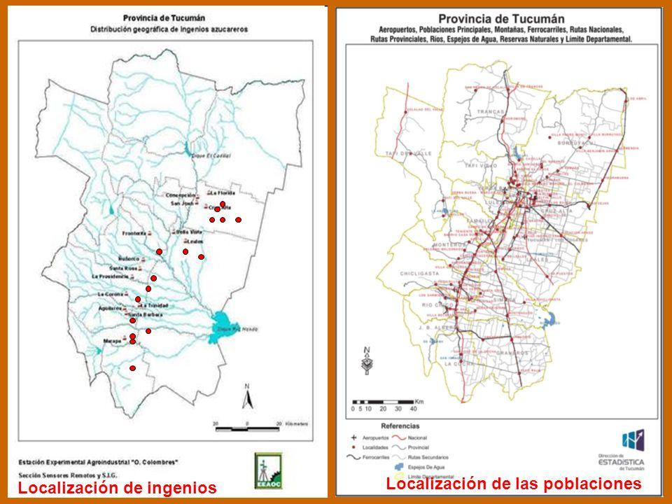 de ingenios Localización Localización de las poblaciones