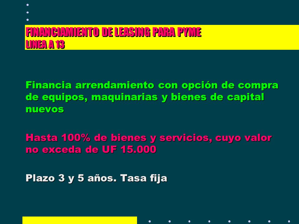 FINANCIAMIENTO DE LEASING PARA PYME LINEA A 13