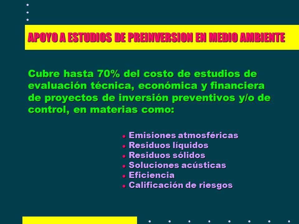 APOYO A ESTUDIOS DE PREINVERSION EN MEDIO AMBIENTE