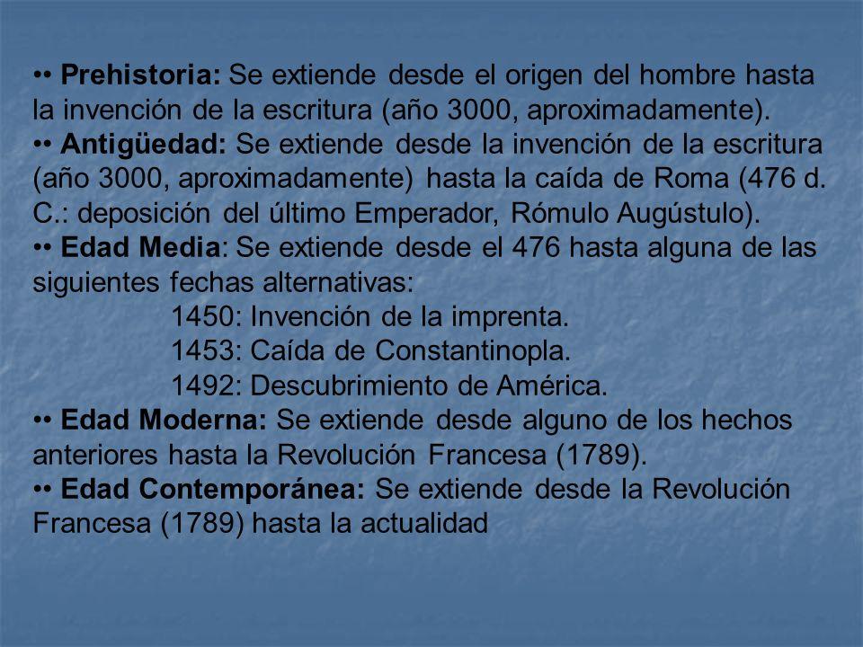 • Prehistoria: Se extiende desde el origen del hombre hasta la invención de la escritura (año 3000, aproximadamente).