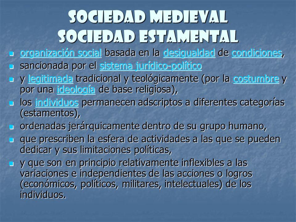 Sociedad Medieval Sociedad Estamental