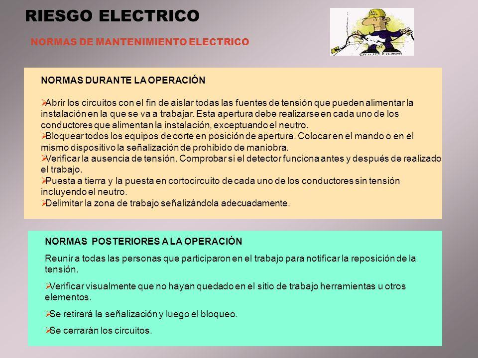 NORMAS DE MANTENIMIENTO ELECTRICO