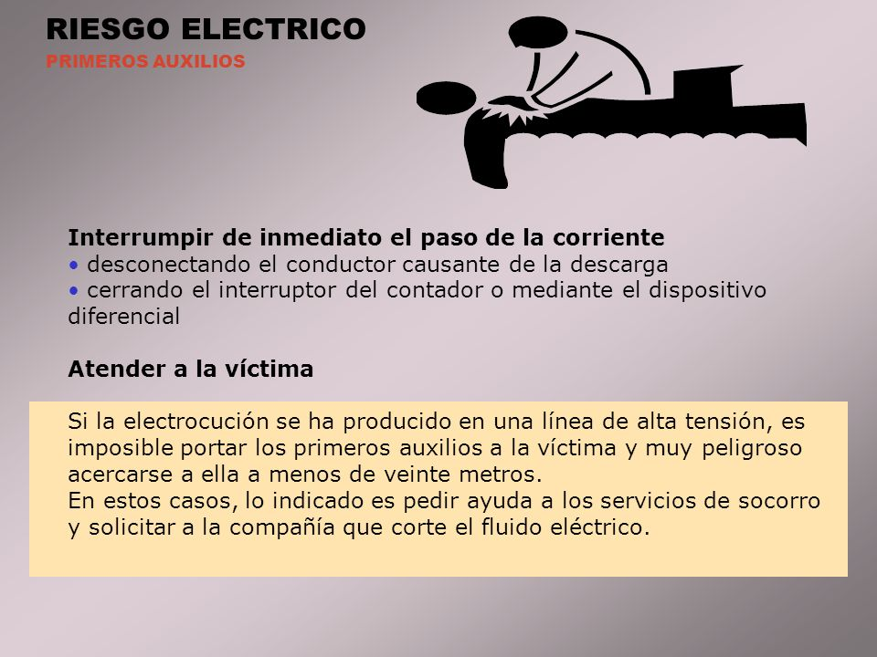 RIESGO ELECTRICO Interrumpir de inmediato el paso de la corriente