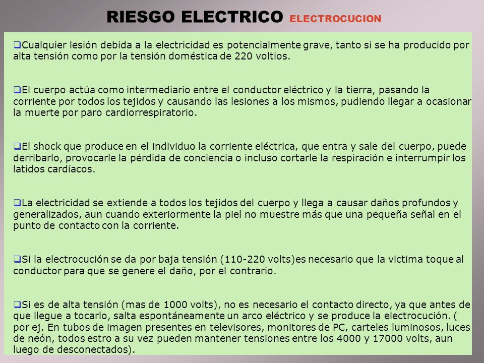 RIESGO ELECTRICO ELECTROCUCION