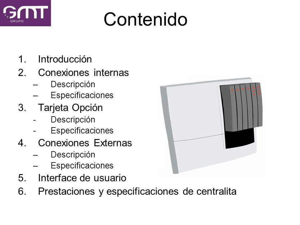 Contenido Introducción Conexiones internas Tarjeta Opción