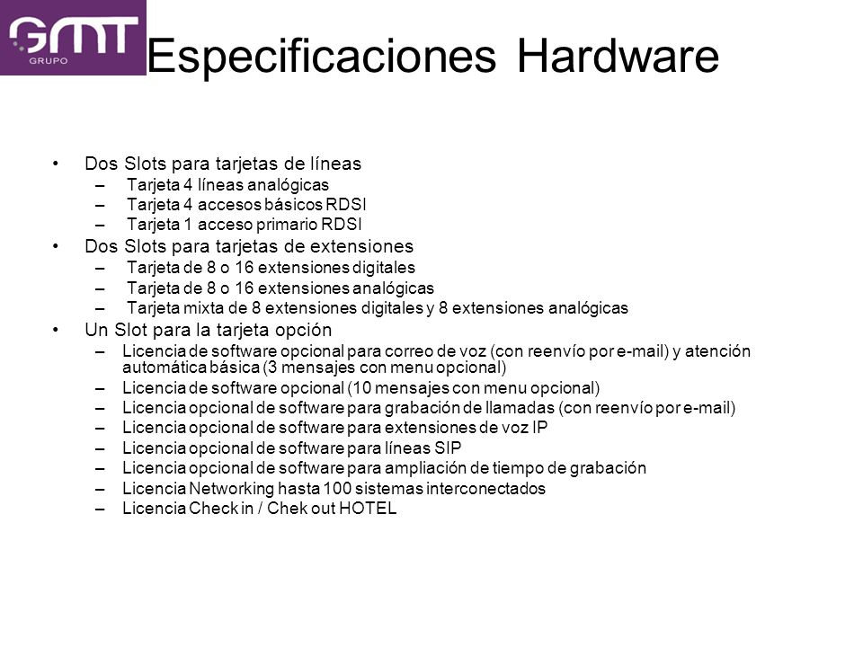 Especificaciones Hardware