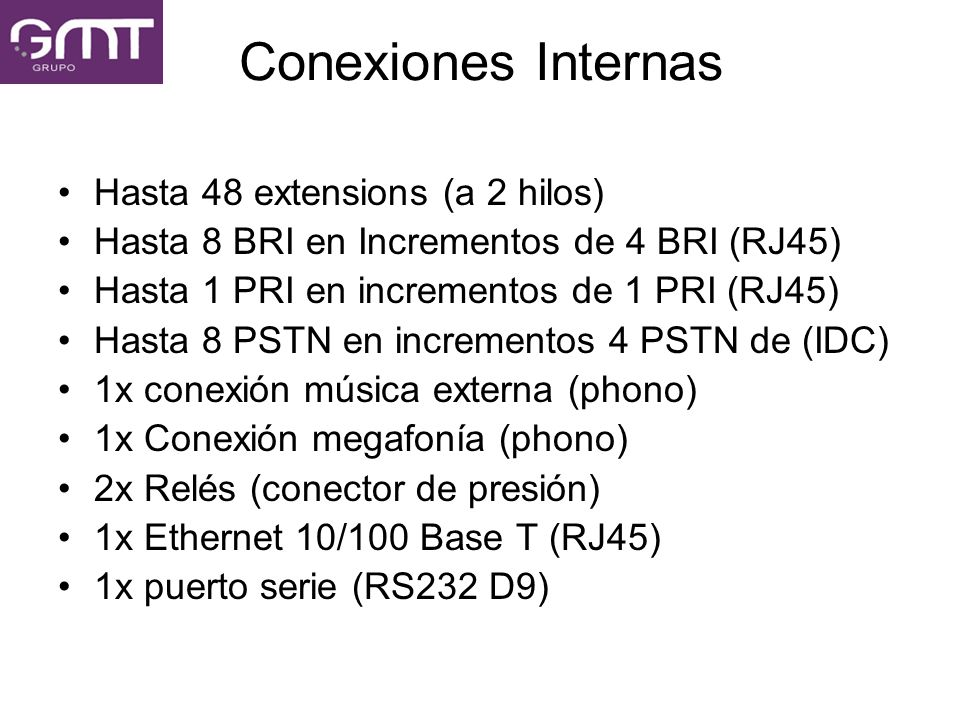 Conexiones Internas Hasta 48 extensions (a 2 hilos)
