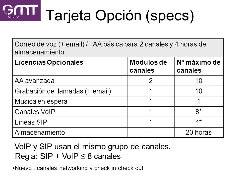 Tarjeta Opción (specs)