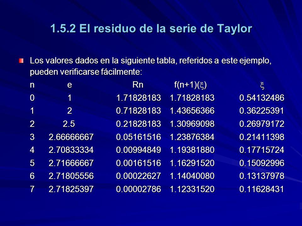 1.5.2 El residuo de la serie de Taylor