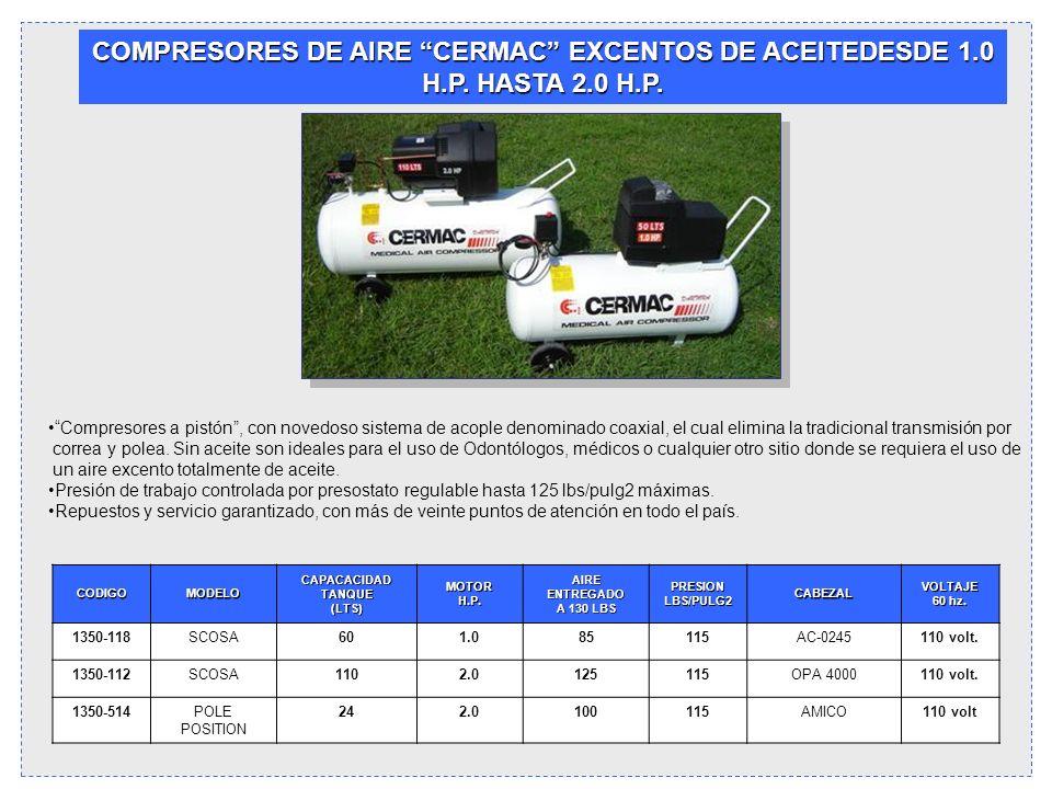 COMPRESORES DE AIRE CERMAC EXCENTOS DE ACEITEDESDE 1.0 H.P. HASTA 2.0 H.P.