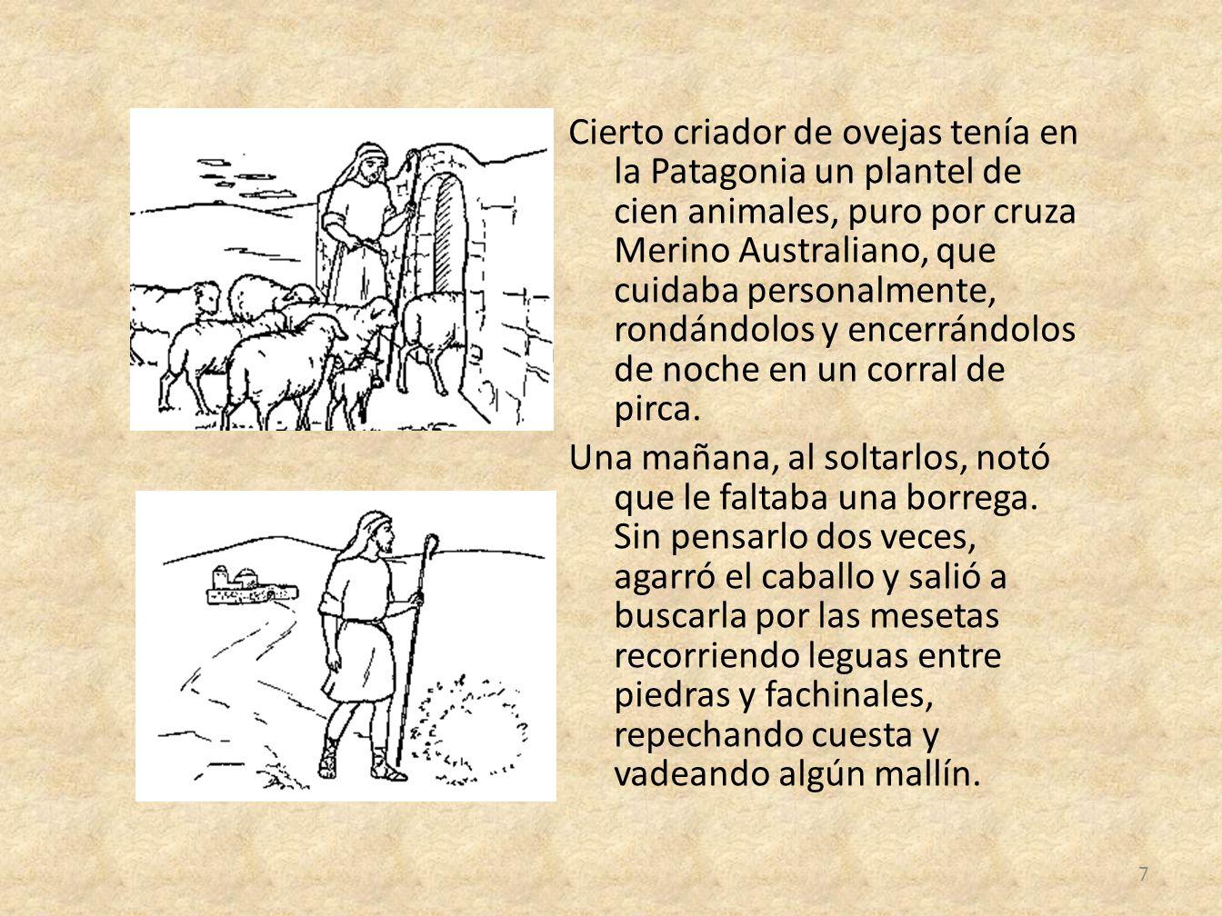 Cierto criador de ovejas tenía en la Patagonia un plantel de cien animales, puro por cruza Merino Australiano, que cuidaba personalmente, rondándolos y encerrándolos de noche en un corral de pirca.