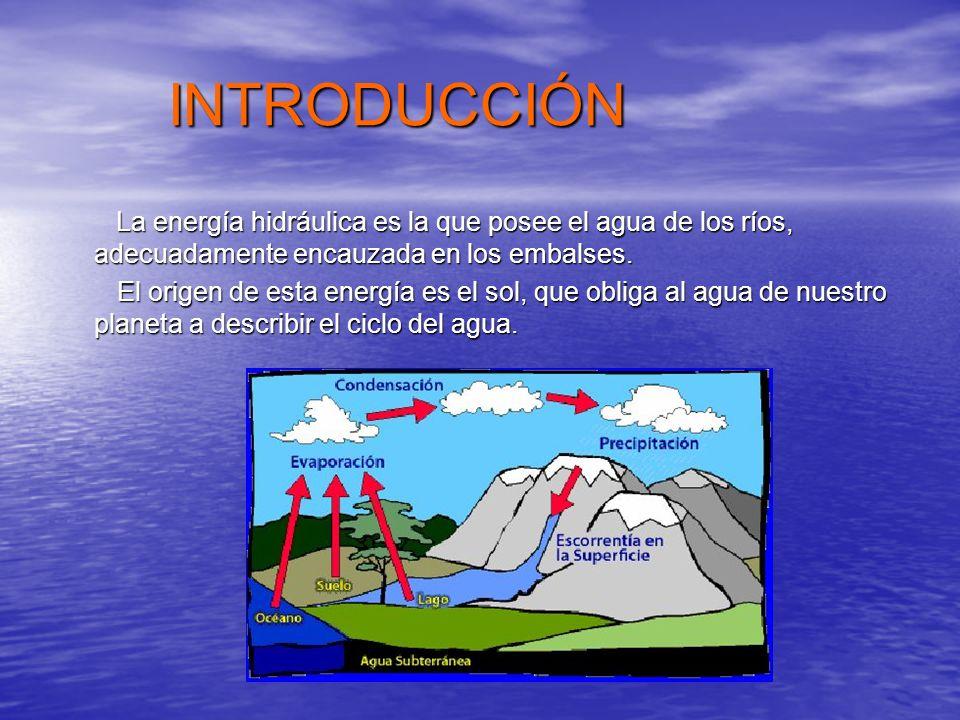 INTRODUCCIÓN La energía hidráulica es la que posee el agua de los ríos, adecuadamente encauzada en los embalses.