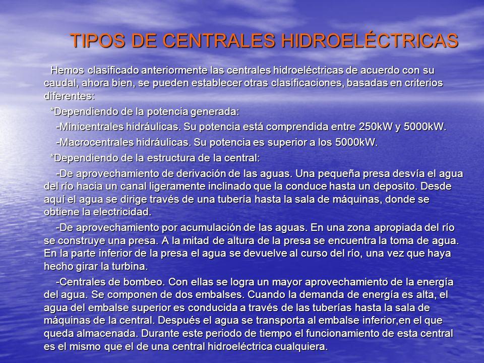 TIPOS DE CENTRALES HIDROELÉCTRICAS