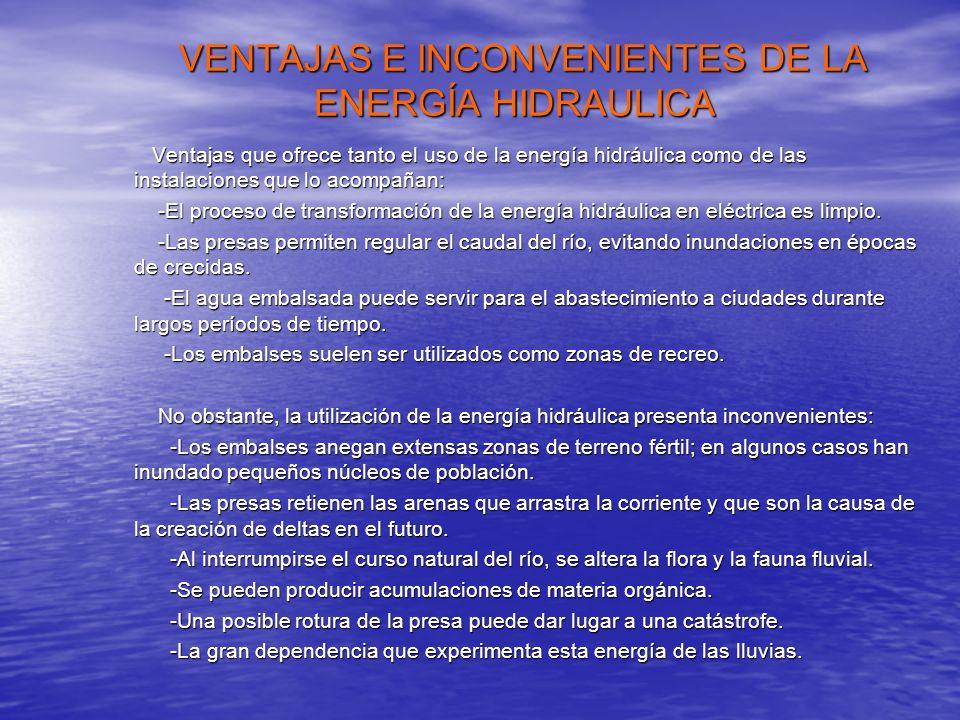 VENTAJAS E INCONVENIENTES DE LA ENERGÍA HIDRAULICA