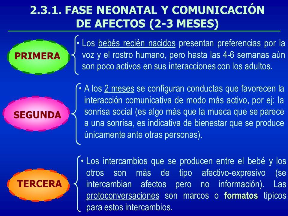 2.3.1. FASE NEONATAL Y COMUNICACIÓN DE AFECTOS (2-3 MESES)
