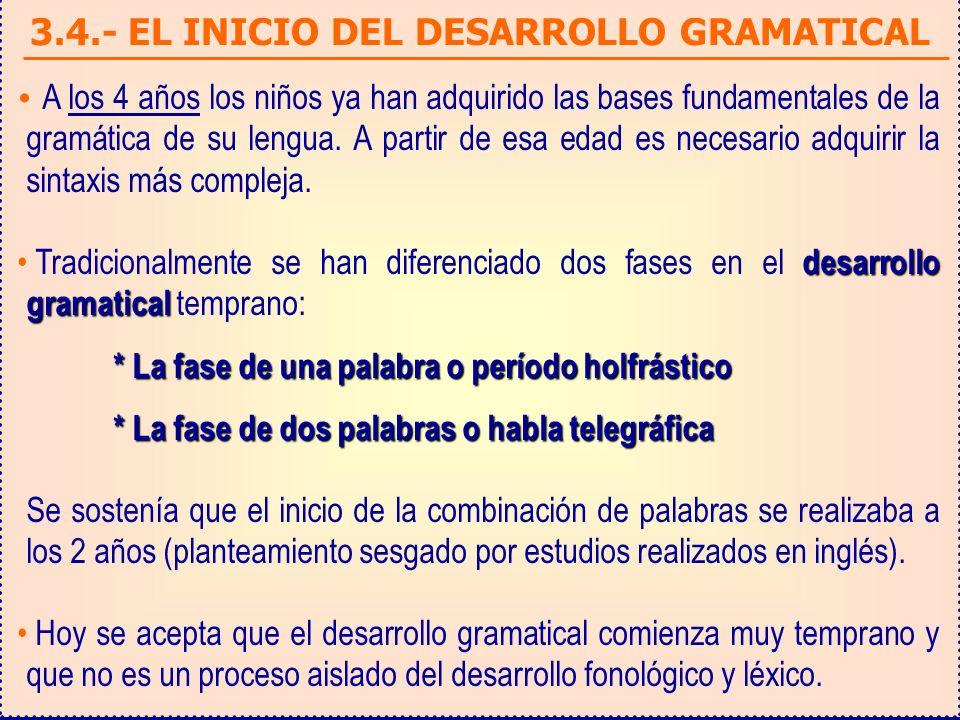 3.4.- EL INICIO DEL DESARROLLO GRAMATICAL