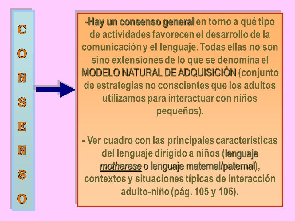 Hay un consenso general en torno a qué tipo de actividades favorecen el desarrollo de la comunicación y el lenguaje. Todas ellas no son sino extensiones de lo que se denomina el MODELO NATURAL DE ADQUISICIÓN (conjunto de estrategias no conscientes que los adultos utilizamos para interactuar con niños pequeños).
