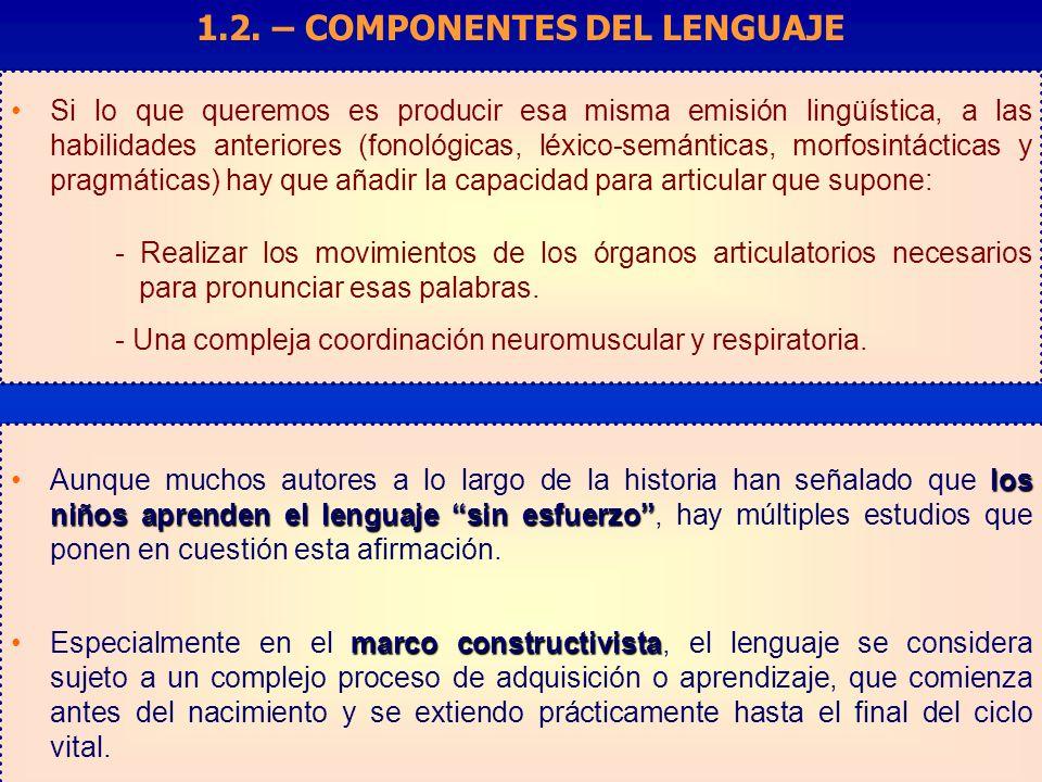 1.2. – COMPONENTES DEL LENGUAJE