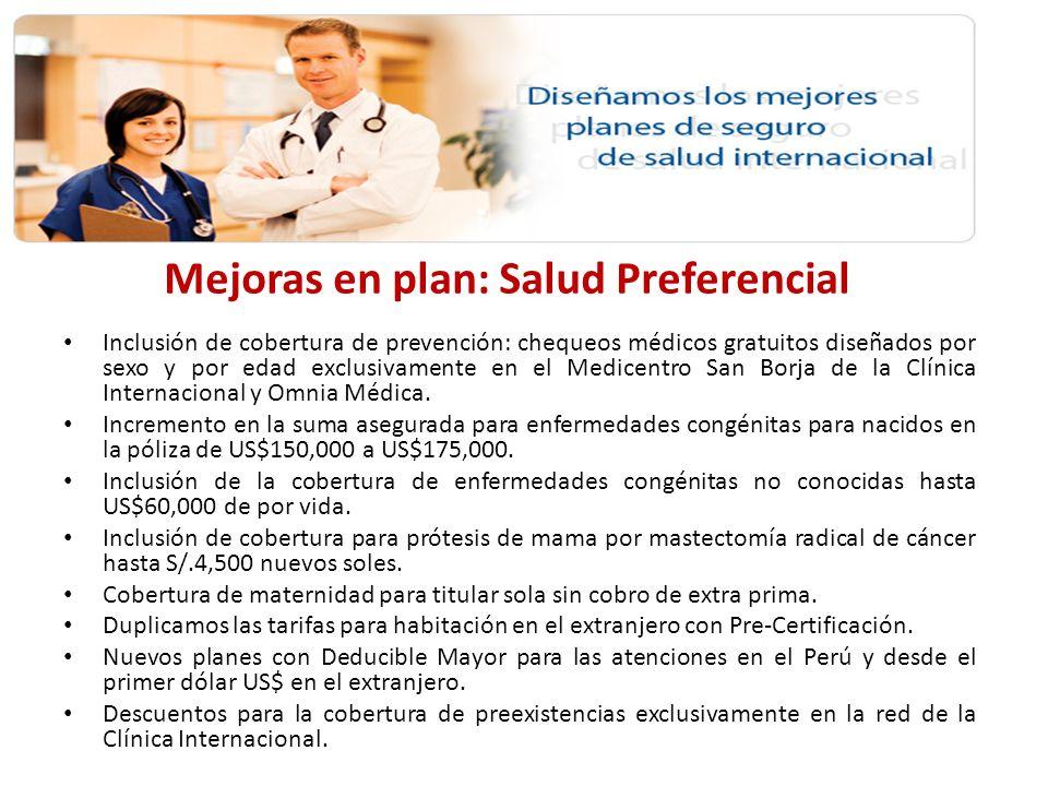 Mejoras en plan: Salud Preferencial