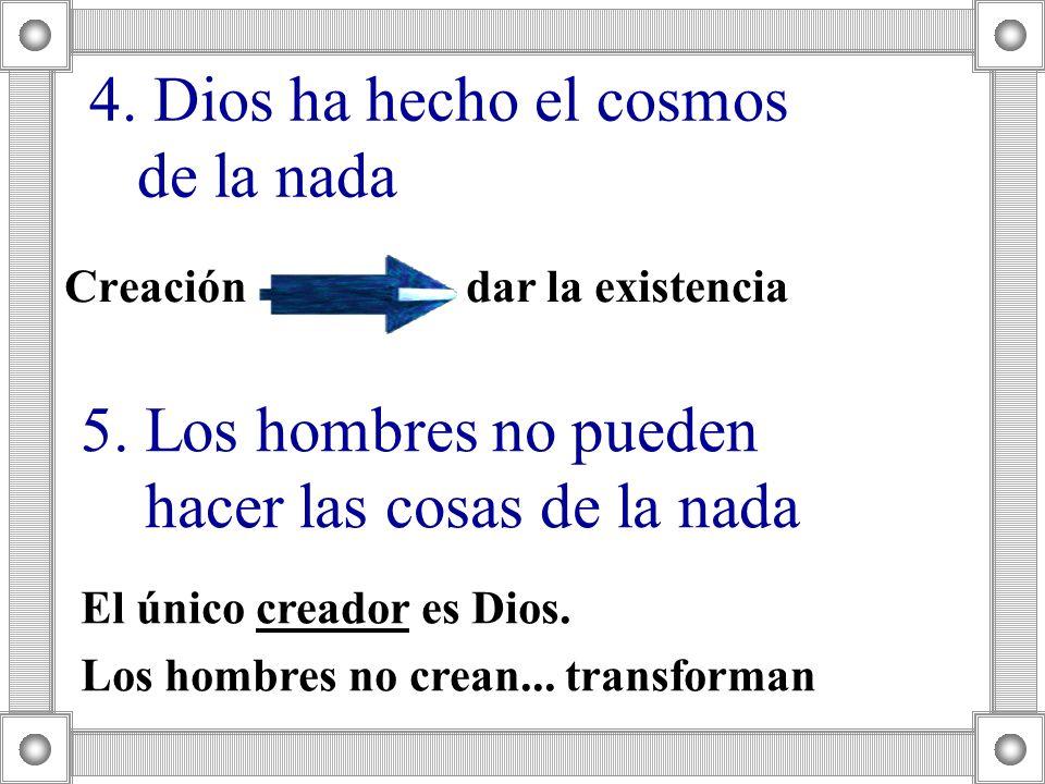 4. Dios ha hecho el cosmos de la nada