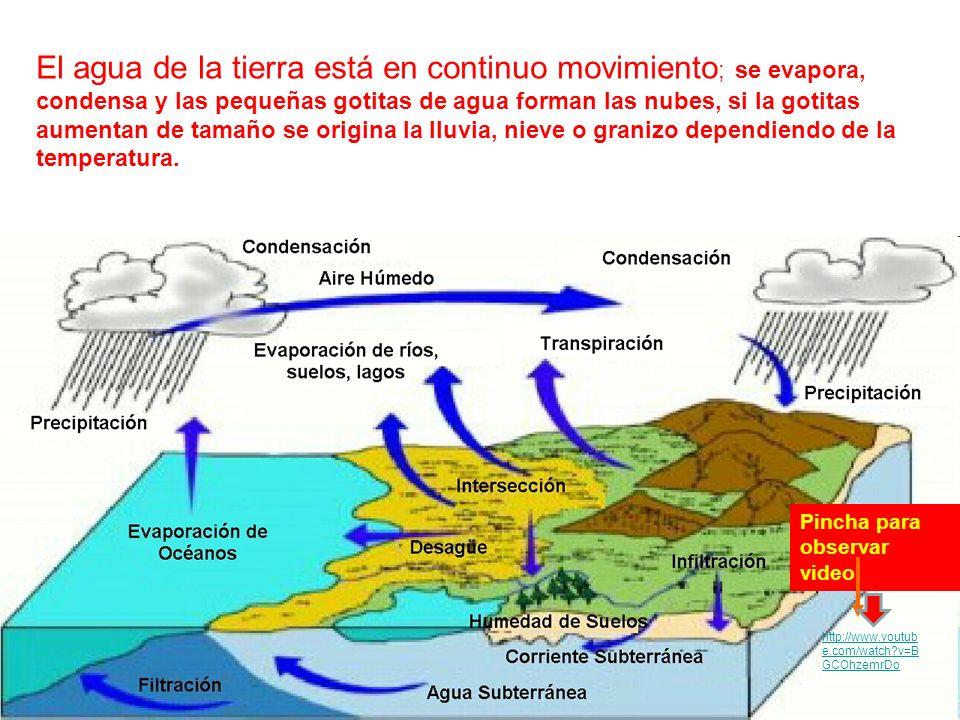 El agua de la tierra está en continuo movimiento; se evapora, condensa y las pequeñas gotitas de agua forman las nubes, si la gotitas aumentan de tamaño se origina la lluvia, nieve o granizo dependiendo de la temperatura.