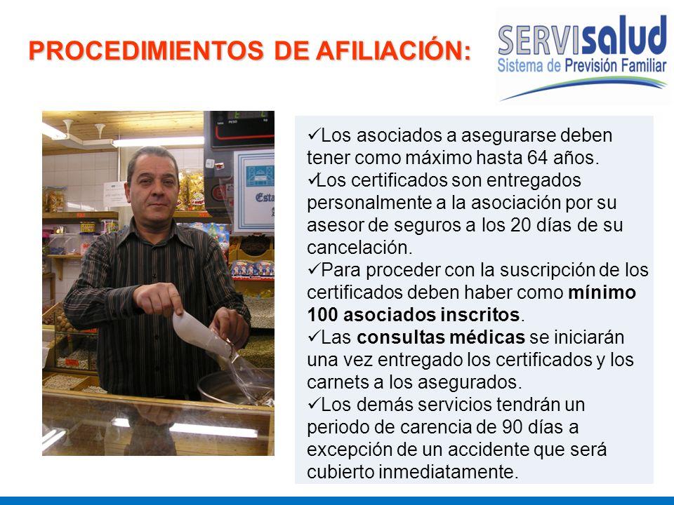 PROCEDIMIENTOS DE AFILIACIÓN: