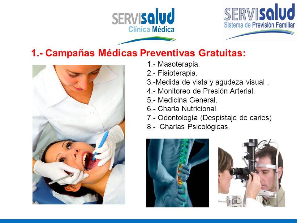 1.- Campañas Médicas Preventivas Gratuitas: