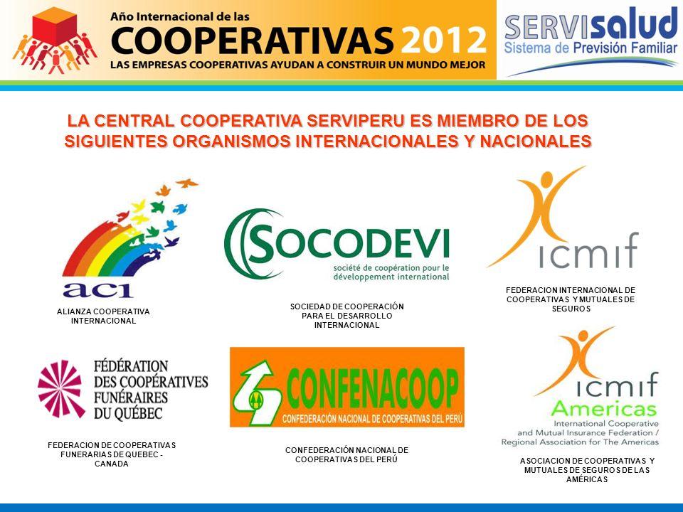 LA CENTRAL COOPERATIVA SERVIPERU ES MIEMBRO DE LOS SIGUIENTES ORGANISMOS INTERNACIONALES Y NACIONALES