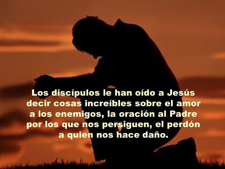 Los discípulos le han oído a Jesús decir cosas increíbles sobre el amor a los enemigos, la oración al Padre por los que nos persiguen, el perdón a quien nos hace daño.