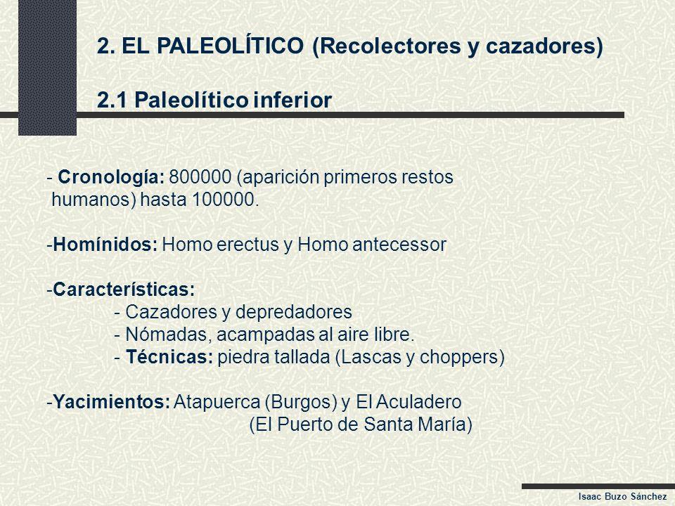 2. EL PALEOLÍTICO (Recolectores y cazadores) 2.1 Paleolítico inferior