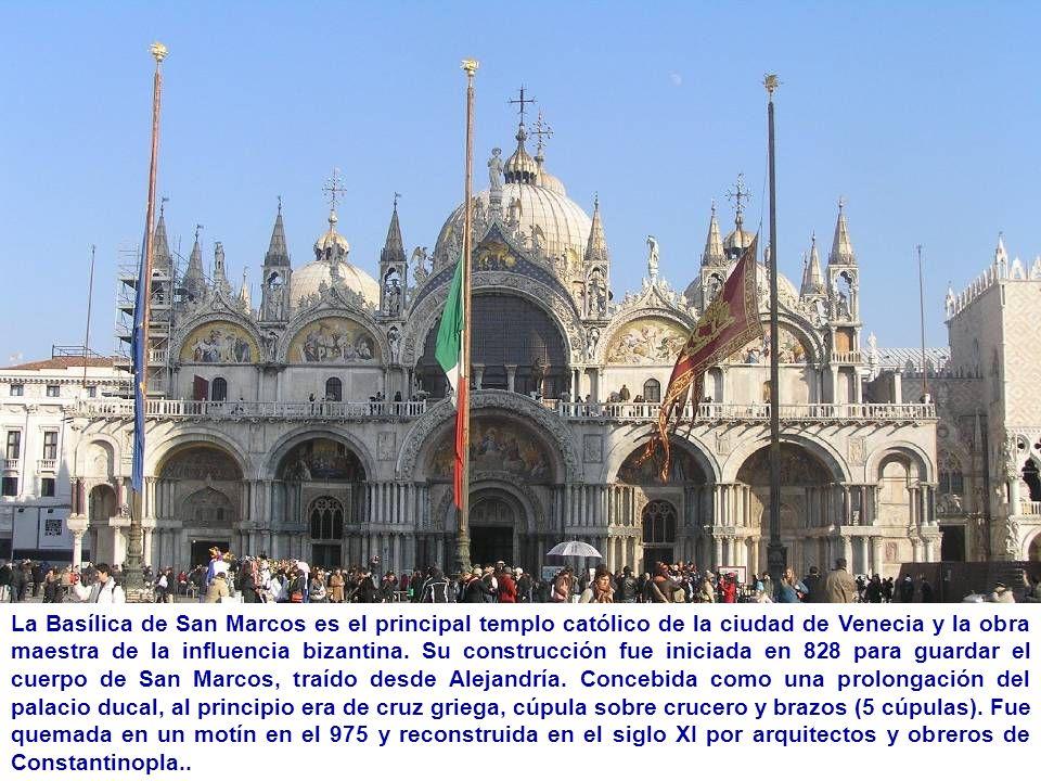 La Basílica de San Marcos es el principal templo católico de la ciudad de Venecia y la obra maestra de la influencia bizantina.