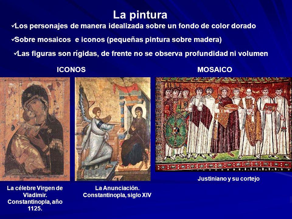 La pinturaLos personajes de manera idealizada sobre un fondo de color dorado. Sobre mosaicos e iconos (pequeñas pintura sobre madera)