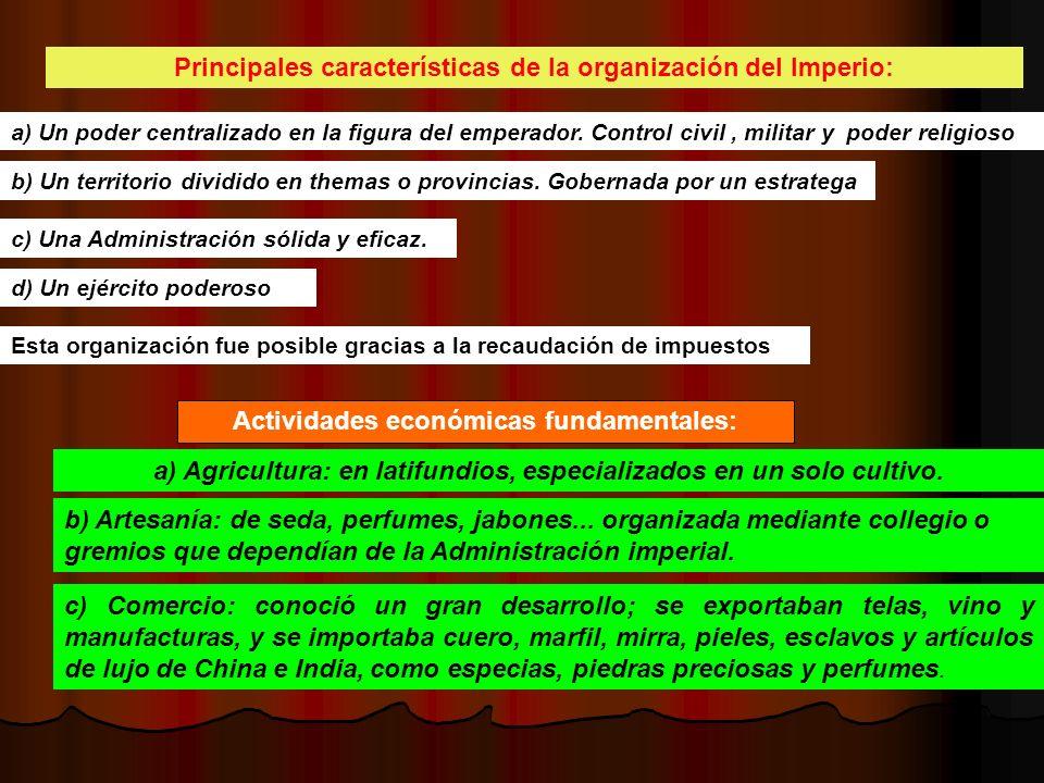 Principales características de la organización del Imperio: