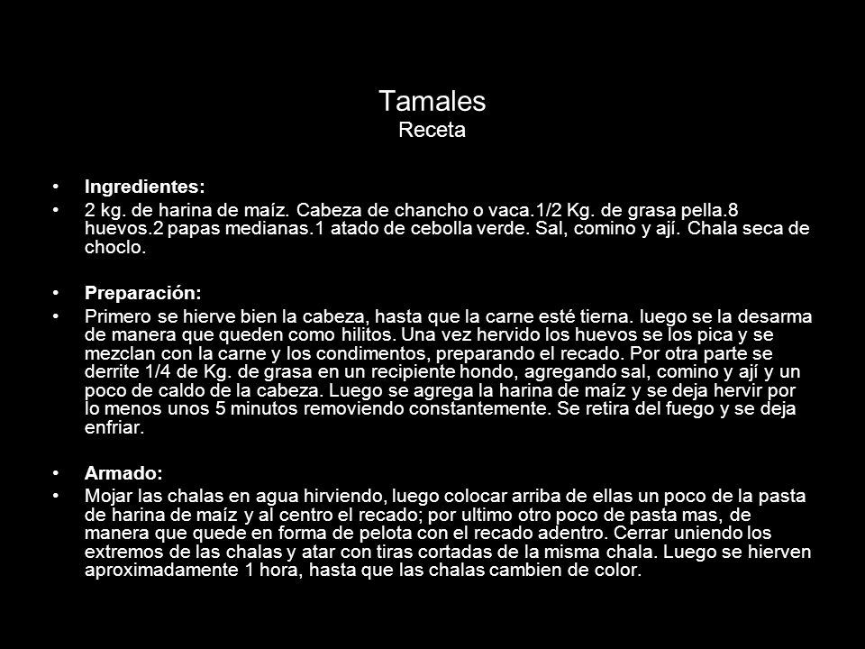 Tamales Receta Ingredientes:
