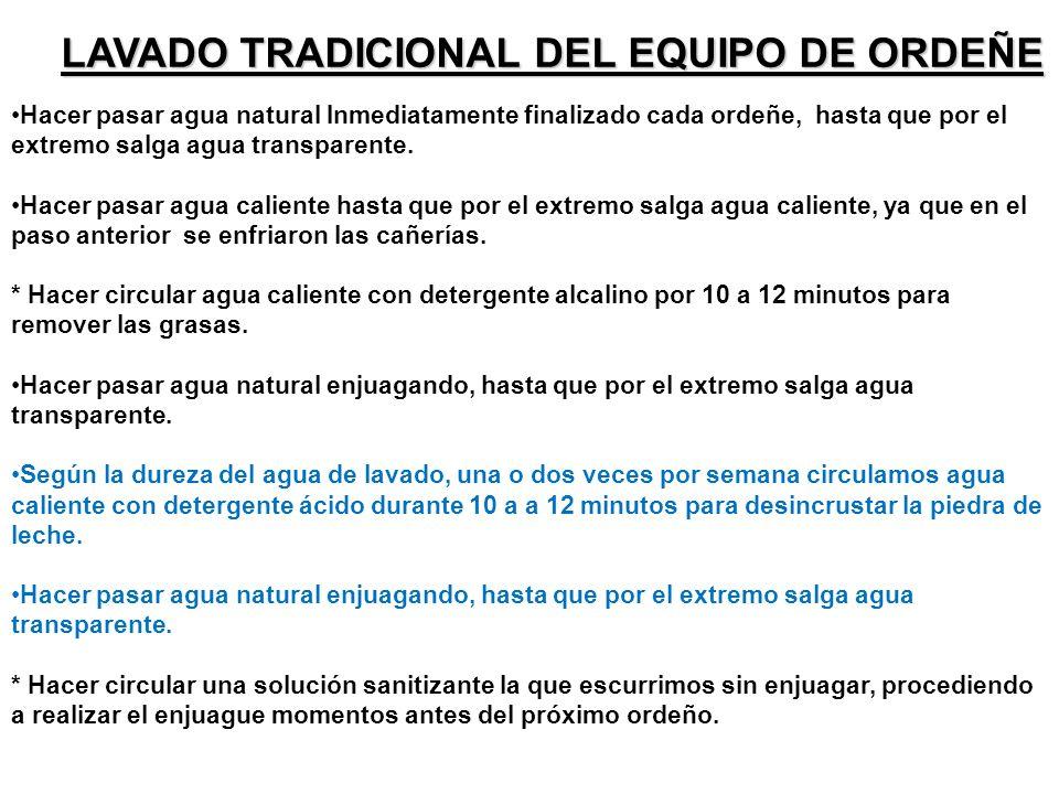 LAVADO TRADICIONAL DEL EQUIPO DE ORDEÑE