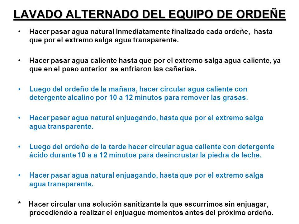 LAVADO ALTERNADO DEL EQUIPO DE ORDEÑE