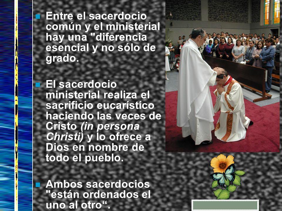 Entre el sacerdocio común y el ministerial hay una diferencia esencial y no sólo de grado.