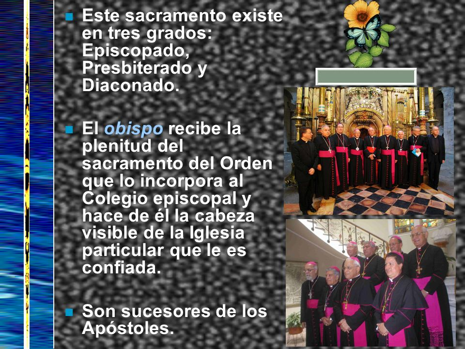 Este sacramento existe en tres grados: Episcopado, Presbiterado y Diaconado.