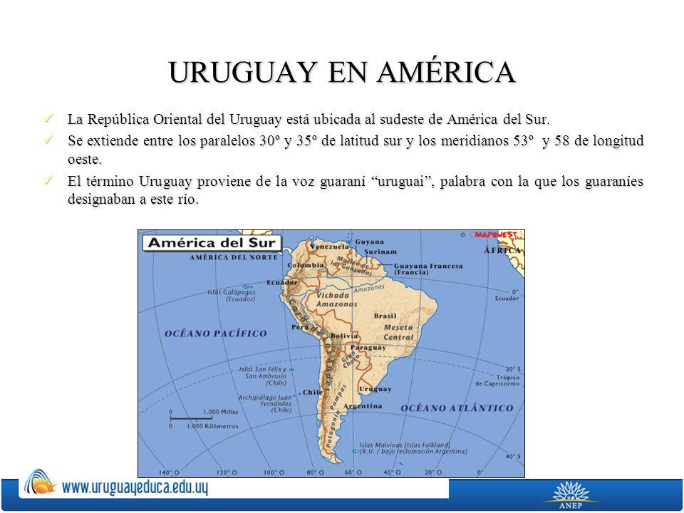 URUGUAY EN AMÉRICA La República Oriental del Uruguay está ubicada al sudeste de América del Sur.