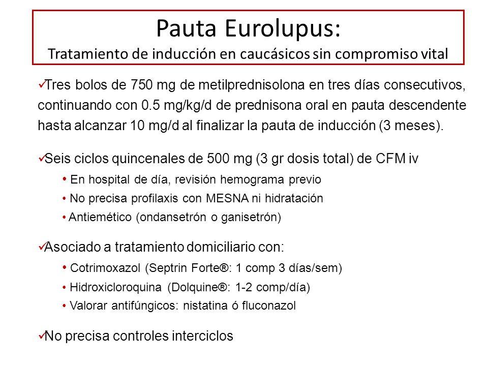 Pauta Eurolupus: Tratamiento de inducción en caucásicos sin compromiso vital