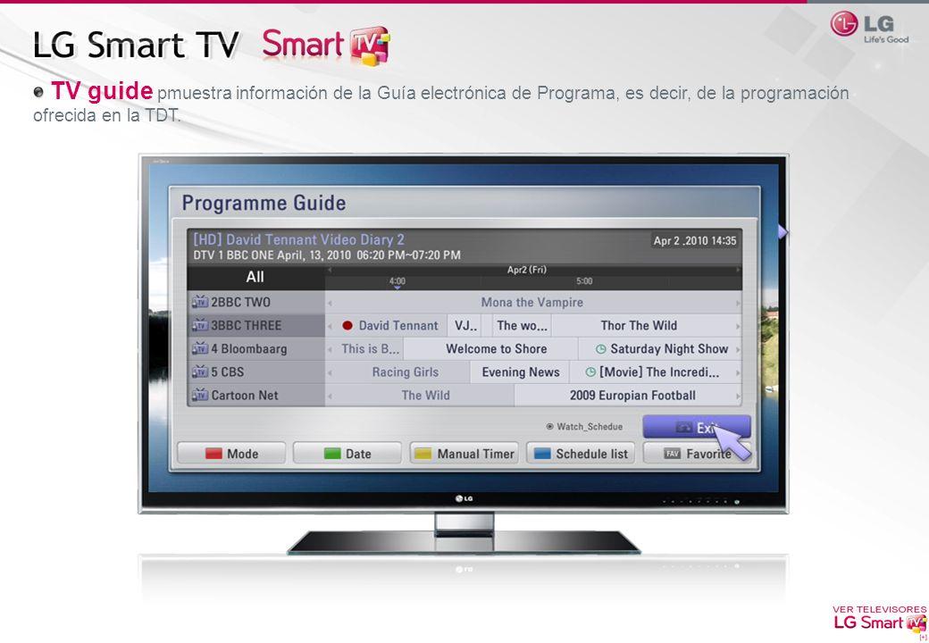 TV guide pmuestra información de la Guía electrónica de Programa, es decir, de la programación ofrecida en la TDT.