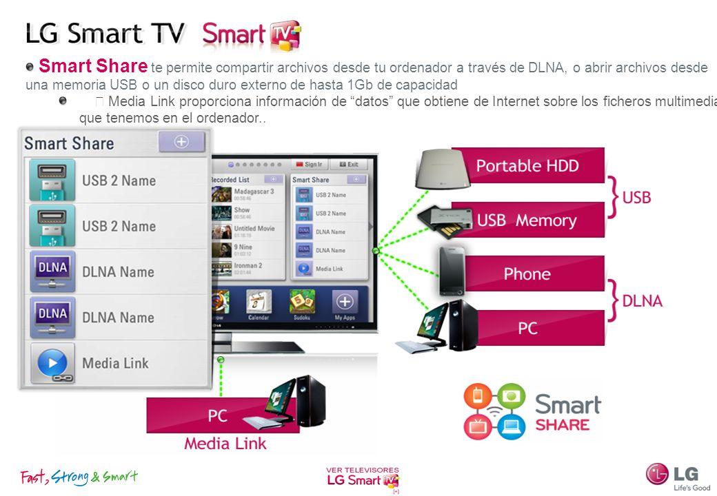 Smart Share te permite compartir archivos desde tu ordenador a través de DLNA, o abrir archivos desde una memoria USB o un disco duro externo de hasta 1Gb de capacidad