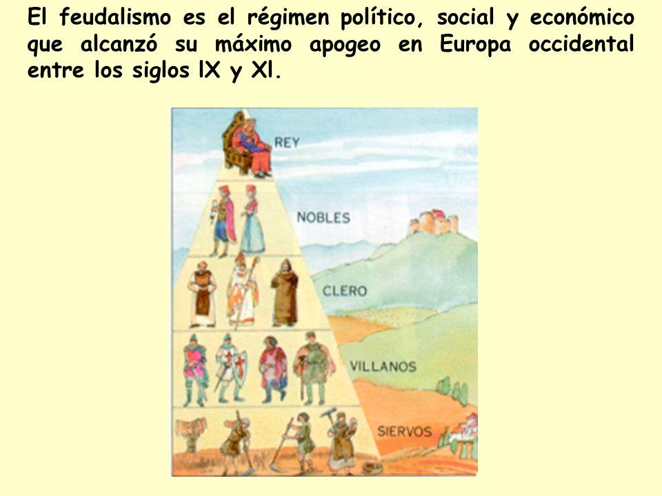 El feudalismo es el régimen político, social y económico que alcanzó su máximo apogeo en Europa occidental entre los siglos lX y Xl.