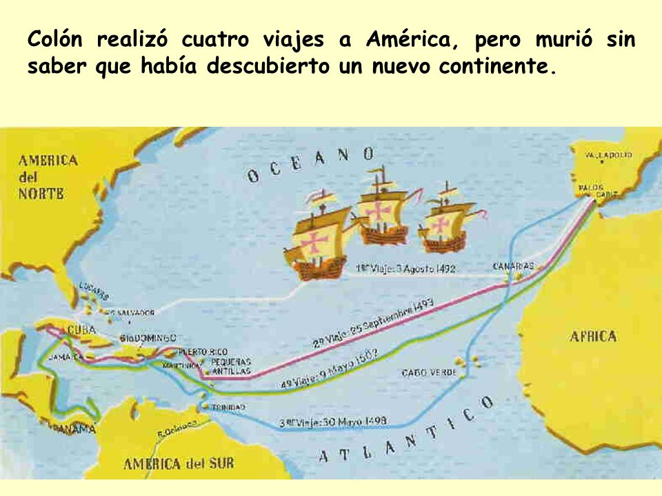 Colón realizó cuatro viajes a América, pero murió sin saber que había descubierto un nuevo continente.