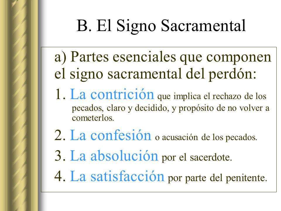 B. El Signo Sacramental a) Partes esenciales que componen el signo sacramental del perdón: