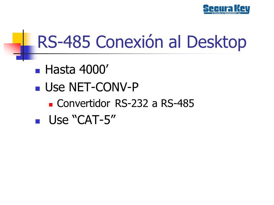 RS-485 Conexión al Desktop