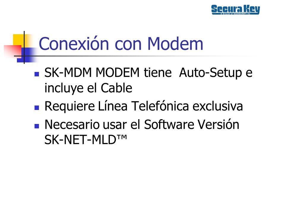 Conexión con Modem SK-MDM MODEM tiene Auto-Setup e incluye el Cable