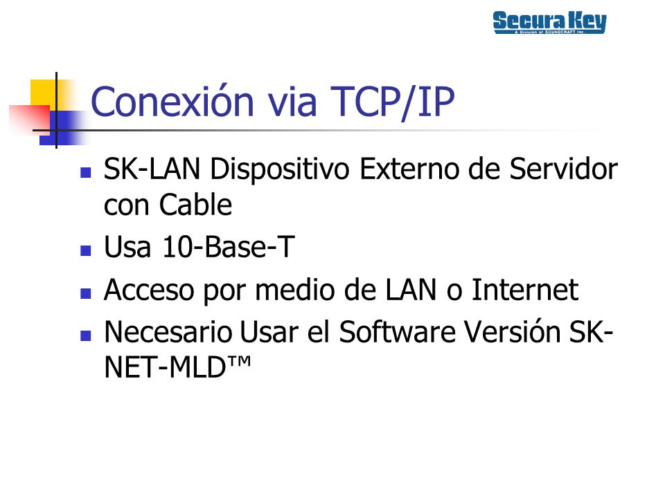 Conexión via TCP/IP SK-LAN Dispositivo Externo de Servidor con Cable